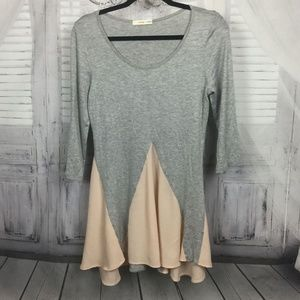 Gray Peach Tunic Top Long Sleeve Small
